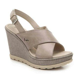 BOC Dannah Gray Leather Fabric Wedge Sandal SZ 9